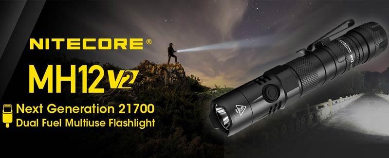 Nitecore - MH12 V2 - Ricaricabile USB - 1200 lumens e 202 metri - Torcia Led