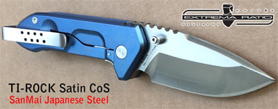 Ti-Rock Satin SanMai CoS - Titanium Blue - Limited Edition - coltello chiudibile